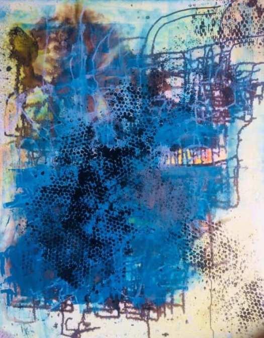wonderfullworld100 x 120 cm - coulures de café et d'huile sur toile de lin glaçage aléatoire en résine